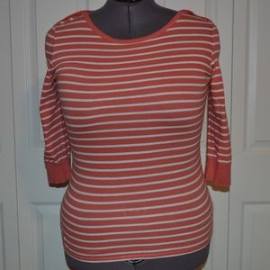Lucky Brand XXL Coral/White Striped 3/4 Sleeve Top